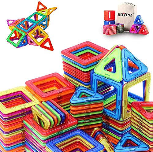 Magnetic Toys for 3 4 5 Year Old Kids Boys Girls Magnetic Building Blocks Tiles Set STEM Educational Construction Toys Gifts - 64PCS
