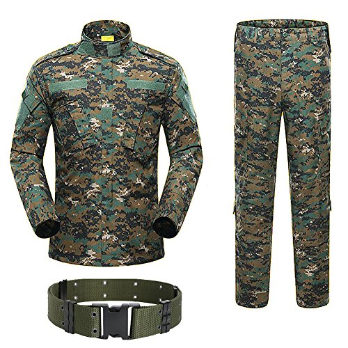H Welt Shopping Military Tactical Herren Jagd Combat BDU Uniform-Shirt und Hose mit Gürtel Woodland Digital Aor2, AOR2