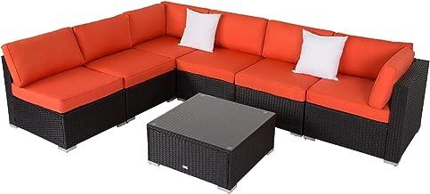 Kinbor 7pcs Outdoor Rattan Sofa Set Couch Wicker Patio Furniture Set Garden Conversation Set
