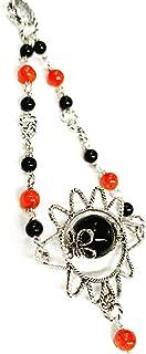 La Filigrana delle Sorelle Manunta Amuleto su Coccu in Argento Brunito con Pietre in Onice Nero e Corallo