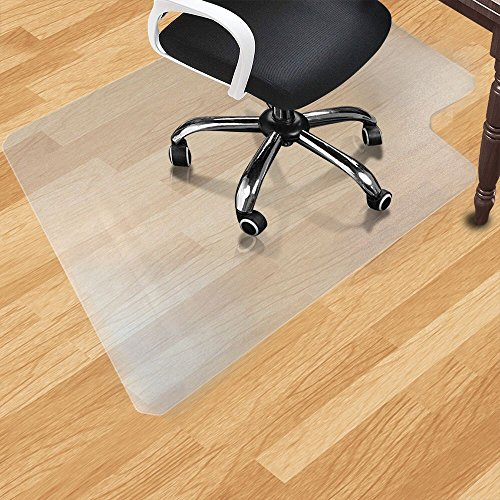 """Office Desk Chair Mat for Hard Wood Floor PVC Clear Protection Floor Mat,Premium Quality Chair Mat Thick and Sturdy (Clear, 44"""" x 53"""")"""