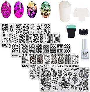 AIMEILI Nail Art Stamping Template Manicure Tool Kit, 5pcs Flower Geometric Owl Nail Stamping Plates, 2 Stamper, 2 Scraper...