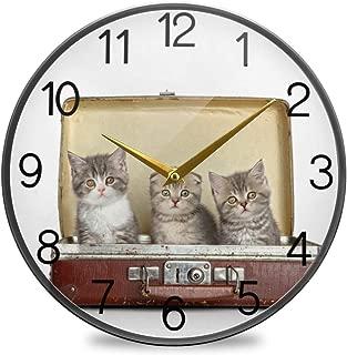 Chovy 掛け時計 サイレント 連続秒針 壁掛け時計 インテリア 置き時計 北欧 おしゃれ かわいい ネコ 猫 猫柄 白 ホワイト かわいい 可愛い 部屋装飾 子供部屋 プレゼント