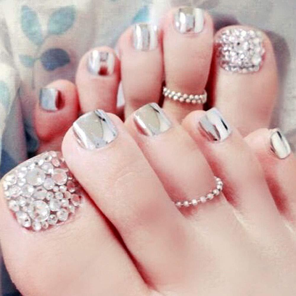 Feilisa Luxury False Toenails Glitter Acryl toenails Fake Import Under blast sales Silver