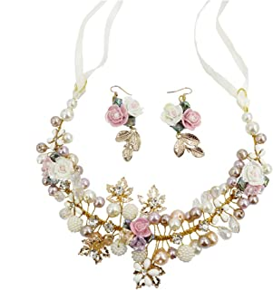 Princess Queen Hair Crown Jewelry Tiaras & Headpiece Flowers Headwear Headband Accessories Earring Set, for Bride Bridal Bridesmaid Women Girls Gifts Wedding Birthday (Hand-Woven Ceramic Pearls, Gold)
