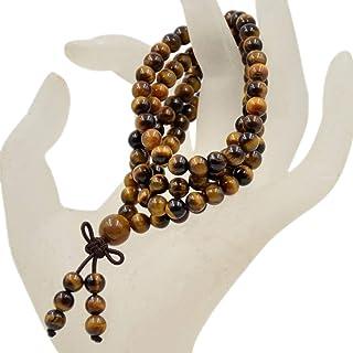 AD Beads Natural Gemstones Buddhist 108 Prayer Healing Beads Mala Stretchy Bracelet Necklace 6mm (Yellow Tiger`s Eye)