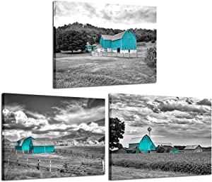 iKNOW FOTO 3pcs Black and Teal Canvas Prints Wall Art Beautiful Scenery of Windmill and Barn on a Cloudy Day Pictures Wooden Framed Art Work Framhouse Posters Modern Home Decor Stretched Gallery Wraps