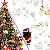 LUYIYI Papá Noel subiendo la Escalera, Santa Claus escalando la Escalera con música, Canto Divertido, Escalada en Santa Claus, Adornos de árbol de Navidad