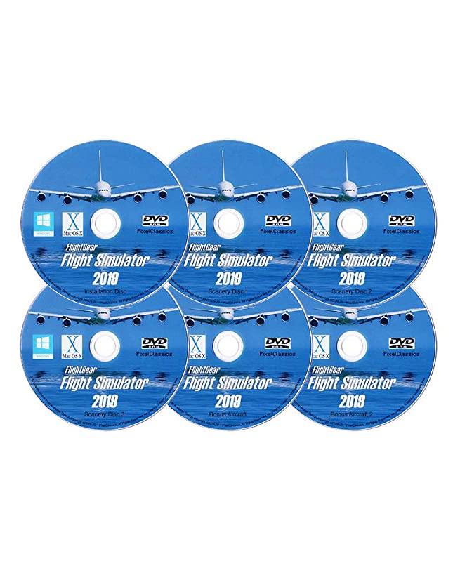 Flight Simulator 2019 X DELUXE Edition Flight Sim FlightGear 6 Disc DVD CD Set For Microsoft Windows 10 8 7 Vista PC & Mac OS X - 600+ Aircraft & FULL Worldwide Scenery!