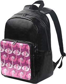 DEZIRO Mochila de lona con estampado de flamenco morado, mochila de viaje, mochila plegable para exteriores, correas ajustables para el hombro