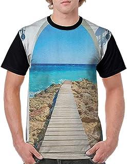 Women Summer Streetwear,Coastal,View from an Open Window Curve on The Sea with a Quay Wooden Coastline, Pearl Aqua Blue Cream S-XXL T Shirt Print Short Sleeve