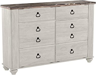 Ashley Furniture Signature Design - Willowton Chest of Drawers - Contemporary Driftwood Inspired Dresser - Two-tone Finish