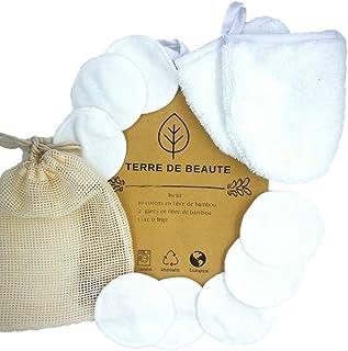 Cotons & Gants Démaquillants Lavables - Coton Bambou Bio TERRE DE BEAUTE - 10 Cotons, 2 Gants de Toilette, 1 Sac Lavable- ...