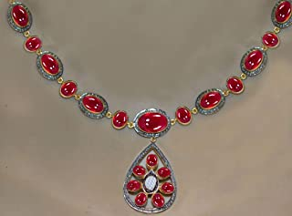 costozon uncut diamond necklace 26.65 Tcw Ruby Rose Cut Diamond 925 Sterling Silver vintage antique jewelry