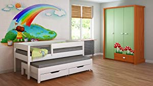 Trundle Bed For Kids Children Juniors Drawers and Mattress Included  180x80  White