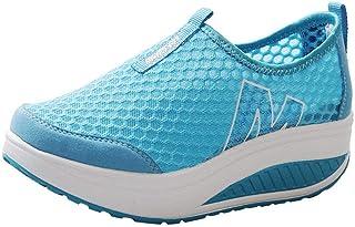 Zapatillas de Deportivos de Running para Mujer Malla Transpirable Pendiente con Suela Gruesa para Aumentar los Zapatos Cas...