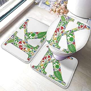 Non Slip Absorbent Bath Mats Letter K,Vivid Color Scheme Natural Inspirations Flowers Leaves Stalks Uppercase K Alphabet,Multicolor,Kitchen Room Floor Mat Rug Colorful