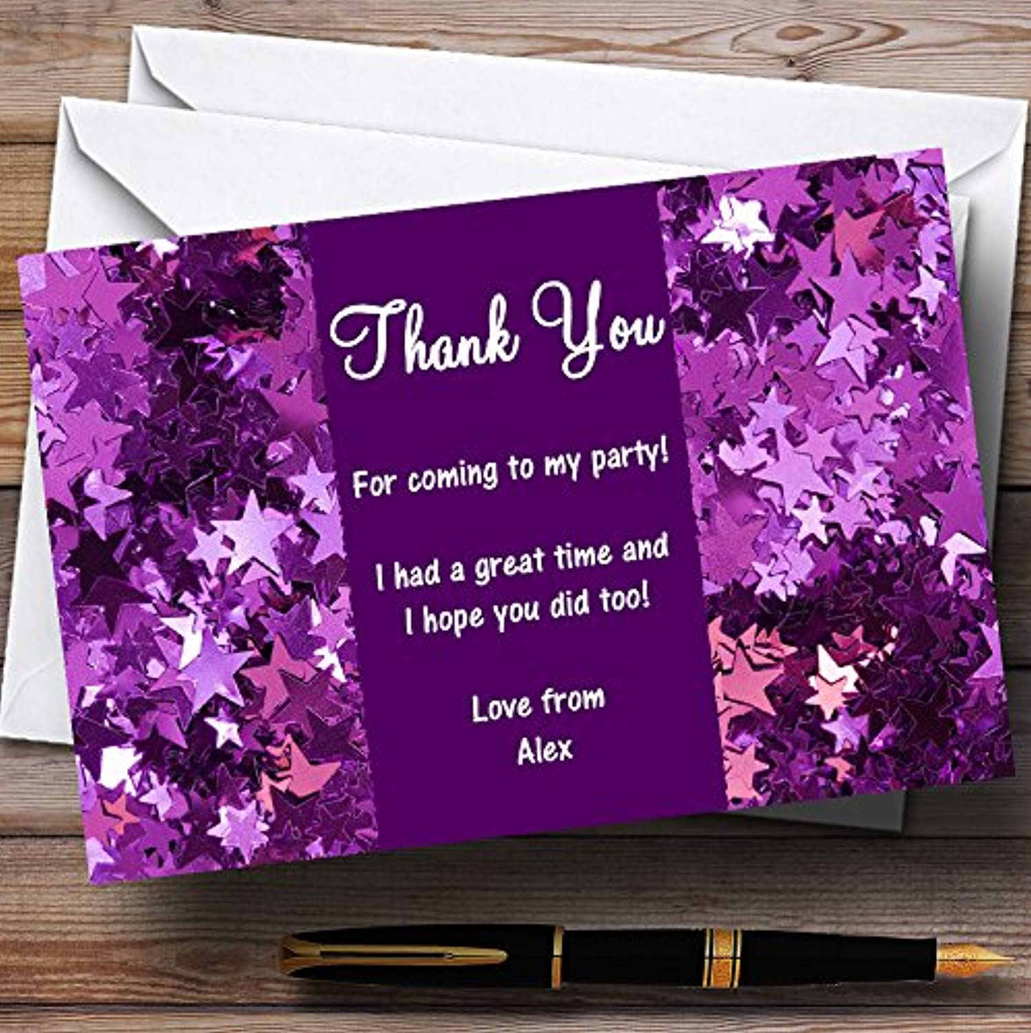 Purple Glittery Stars Personalised Party Thank You Cards