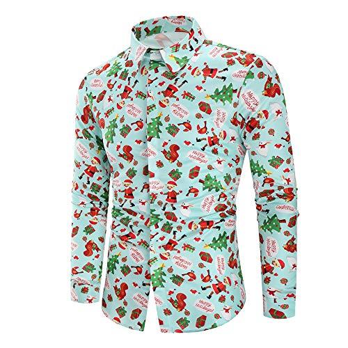 Camicia da Uomo Maniche Lunghe 3D con Pupazzo di Neve Camicia Carina alla Moda Camicia di Fondo Invernale 2020 Primavera e Autunno Nuovo Tempo Libero Camicia Natalizia XL