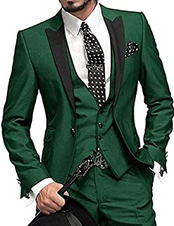 f86a2f45e99b7a One Button 3 Pieces Green Wedding Suits Notch Lapel Men Suits Groom Tuxedos