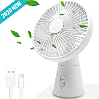 Collen Ventilador de Escritorio USB Ventiladores Silenciosos Ventilador de Escritorio Oscilante/Giratorio, 5 Aspas, Ventilador de Enfriamiento de 3 Velocidades para Oficina Doméstica