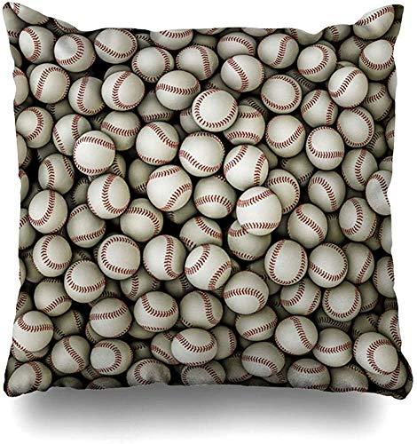 Throw Pillow Cover Leather Red Field Baseballs Sports Recreation Baseball Softball Ball League Major Infield Sport Decorative Pillowcase Square 18 x 18 Inch Home Cushion Pillow Case
