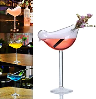 Makluce 2pcs Cute Bird Shape Cocktail Glass Beverage Drinking Cup, 200ml/7oz Novelty Champagne Goblet Glass for Mimosas, Bloody Mary's, Wine Glasses, Sodas Cups Well-Designed