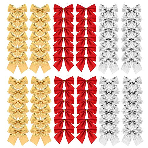 TheStriven Lazos Navidad Arbol Dorada Decoraciones de Lazo de Festival 72 Piezas Lazo de Árbol de Navidad Adornos de Lazo de Cinta para Decoración Colgante de Árbol de Navidad Decoración