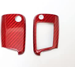 Pinalloy Red Pure Carbon Fiber Key Cover Case Skin Shell Fob for VW Golf 7 MK7