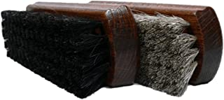 Valentino Garemi Shoe Polishing Brush Set | All Leather Footwear | Shine Polish Buffing | Genuine Horsehair Bristles Wood Handle Made in Germany