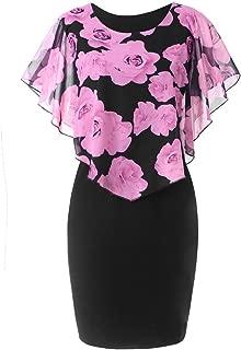 Womens Fashion Plus Size Rose Print Chiffon Straight Skirt Ruffles Dress