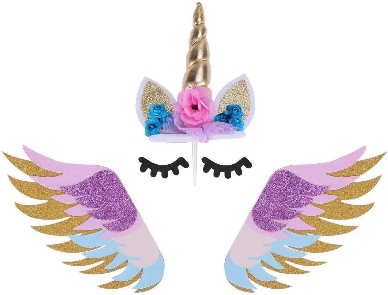 JANOU Unicorn Cake Topper Set Gold E Regular store Flower Horn Purchase Glitter
