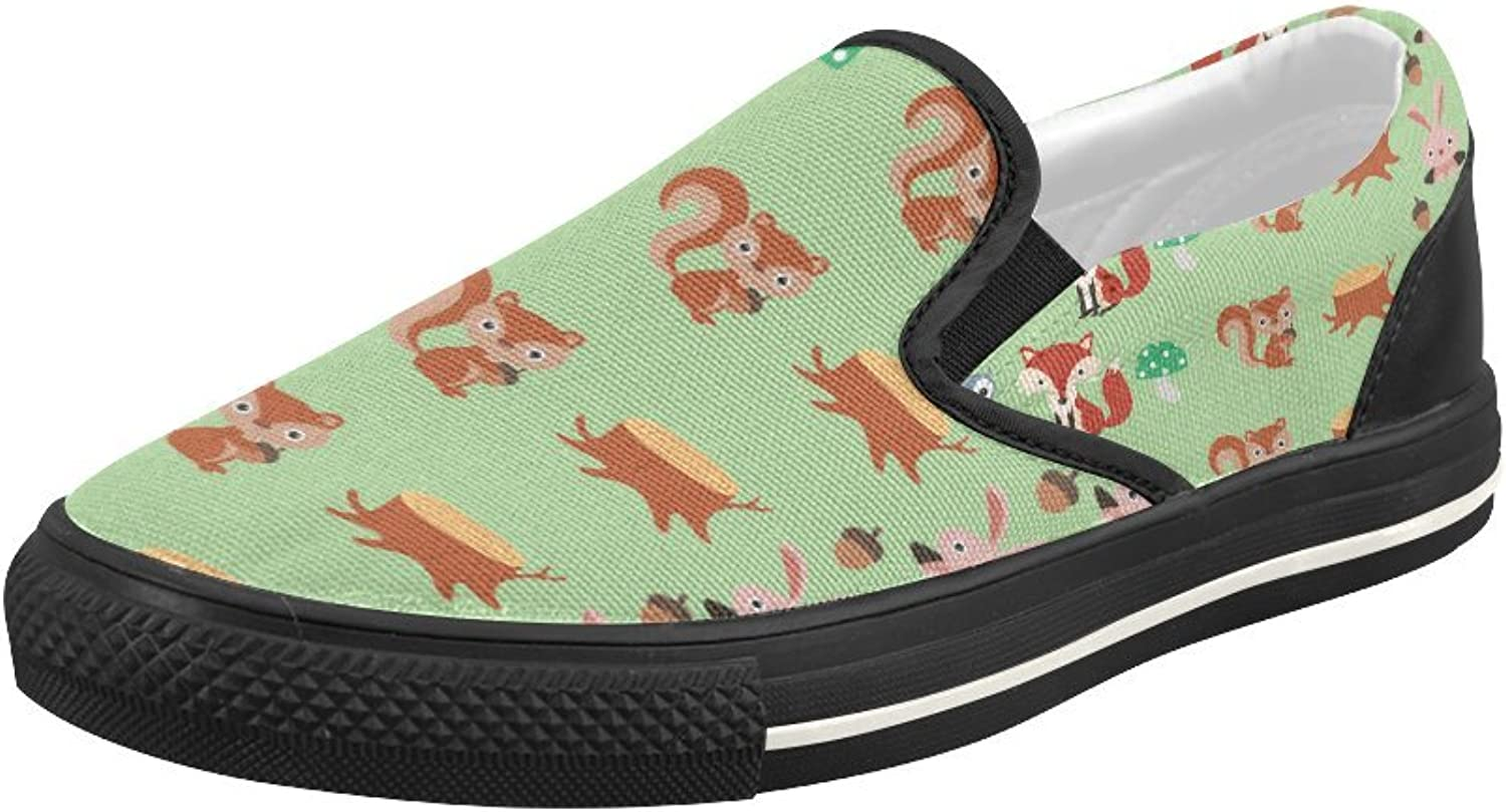 HUANGDAISY shoes Forest Pattern Slip-on Canvas Loafer for Women