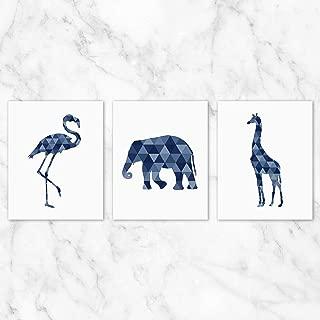 Geometric Safari Animals Wall Art - Set of 3-8x10 Prints on Linen Paper - Unframed