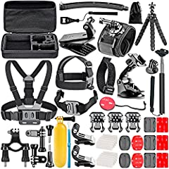 Multi-Use: Specially designed for different camera models to meet your needs. Easily connects to many action cameras including GoPro Hero 8 7 6 5 4 3/3+ 2 1 Black, GoPro Max Black, 2018 Session Fusion Silver White and more. This kit makes it easier t...
