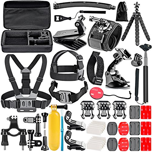 Neewer 50-In-1 Kit di Accessori per Action Camera Compatibile con GoPro Hero 8 Max 7 6 5 4 Black GoPro 2018 Session Fusion Argento Bianco Insta360 DJI AKASO APEMAN Campark SJCAM Action Camera ecc.