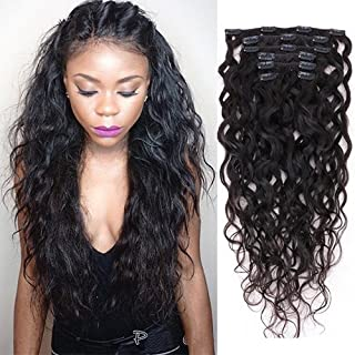 Natural Curly Clip in Human Hair Extensions for Black Women Natural Wave Real Human Remy Hair Clip in Extension for African American Natural Hair Extensions Clip ins 7Pcs/Set 120Gram (16inch)