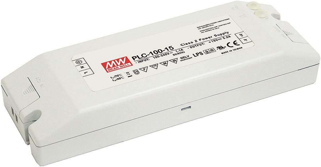 MW Mean Well PLC-100-15 15V 5A 75W Single Output LED Power Supply with PFC