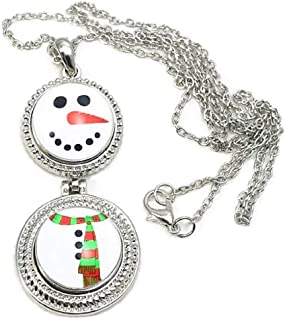 Double Snap Charm Snowman Necklace 24 Inch