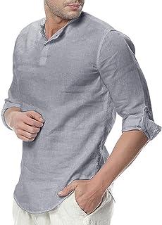 ShallGood Camisa Hombre Cuello Mao Lino Blusa Manga 3/4 Camisas Top Sin Cuello De Color Sólido Blusas Suelta Camisas De Tr...
