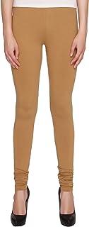 American-Elm Women's Brown Cotton Churidaar Leggings