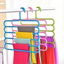 FreShine 5 Layer Pants Clothes Hanger Wardrobe Storage Organizer Rack (Set of 4), 32l x 1b x 33h cm (Assorted Colour) (10)