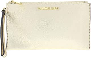 d34184e3d917 Michael Kors Pebbled Leather Bedford Lg Zip Clutch Wristlet in Pale Gold