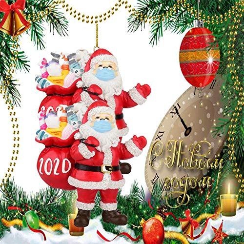 FVANOR 2020 Christmas Ornament Santa Claus Wearing A Mask, 2020 Quarantine Survivor Unique Luxury Decoration, Christmas Figurine Christmas Tree Decoration(5Pcak)