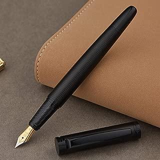 Hero Matte Black Fountain Pen, Ripple Mark Iridium Fine Nib Point with Luxury Gift Box