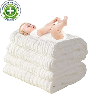 100% Medical Grade Cotton,Water Absorbent,Super Soft Cotton Gauze,Suitable for Baby's Delicate Skin,Newborn Muslin Cotton Warm Baby Bath Towels Also for Baby Blanket - 1 pcs