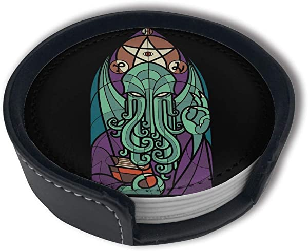 PDUOW Cthulhu S Church Coasters For Drinks PU Leather Coasters With Holder Protect Furniture From Damage 6PCS