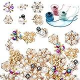 60 pezzi bottoni strass abbellimento con nastro pulsanti perla finte bottoni perla piatta indietro fiore bottoni di strass per gioielli festa di nozze decorazione diy artigianato capelli accessorio