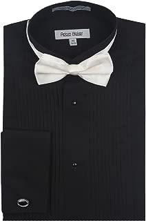 Men's Regular & Slim Fit Wingtip Collar French Cuff Formal Tuxedo Shirt (Bowtie & Cufflinks Included)