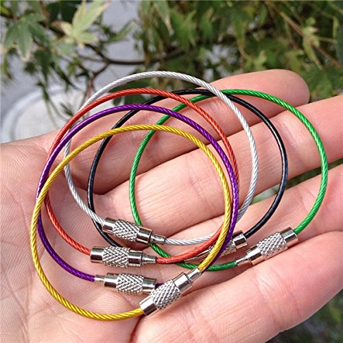 MASUNN RIMIX Acier Inoxydable PVC isolé en Caoutchouc surétire Fil Cercle coloré Porte-clés Trousseau - Noir